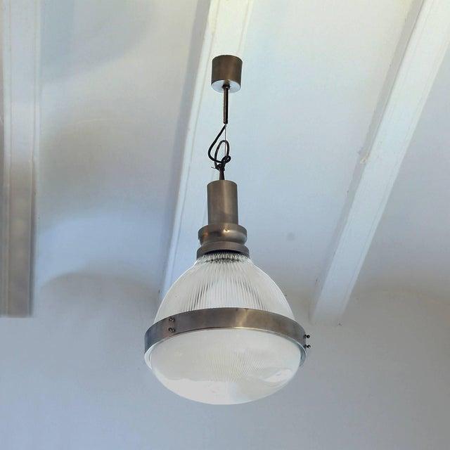 Rare lantern, nickel-plated brass and pressed glass. Design: Sergio Mazza Maker: Artemide Italy, circa 1960.