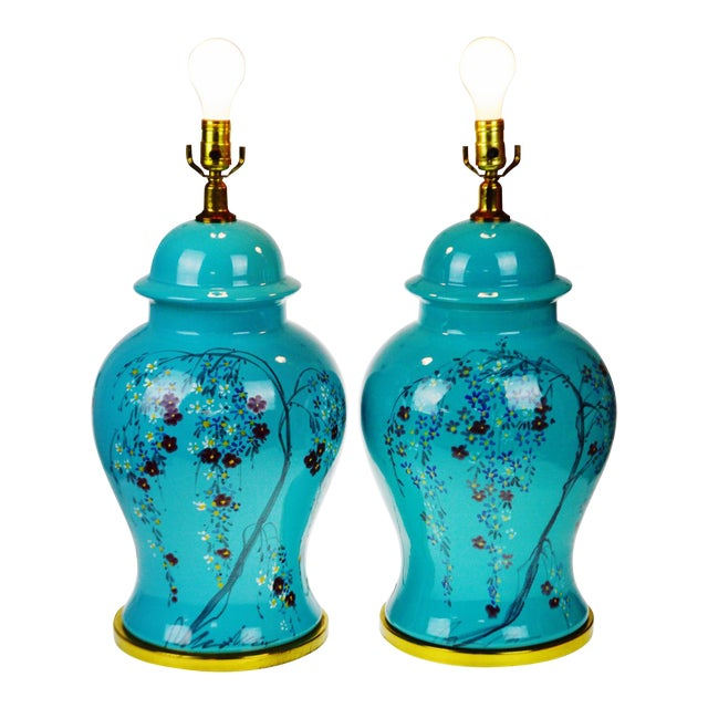 Vintage Large Scale Aquamarine Blue Hand Painted Asian Ginger Jar Lamps - A Pair For Sale