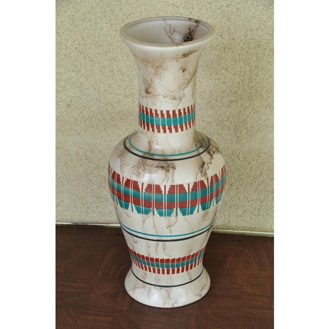 "Ceramic 18"" Tall Navajo Native American Arlene John Horsehair Pottery Vase For Sale - Image 7 of 8"