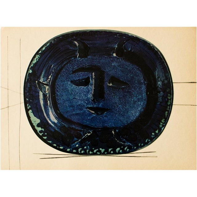 1950s 1955 Pablo Picasso Satyr in Blue Ceramic Plate, Original Period Swiss Lithograph For Sale - Image 5 of 6