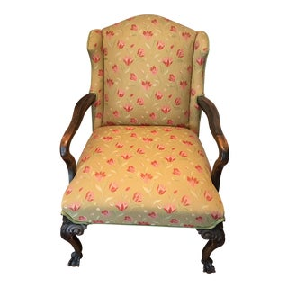 1940s French Country Textile and Wood Side Chair