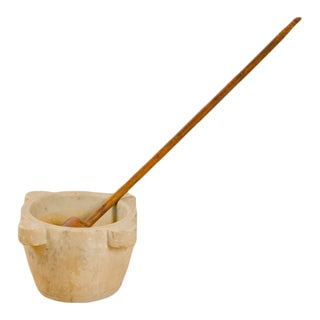 19th Century Oversized Antique Marble Mortar and Pestle - 2 Pieces For Sale