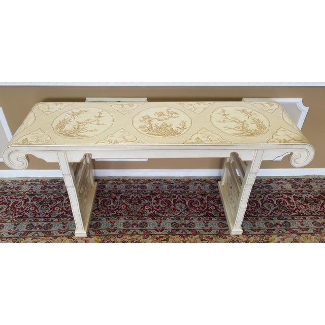 Asian 1980s Drexel Heritage White Asian Ming Alter Console Table For Sale - Image 3 of 10