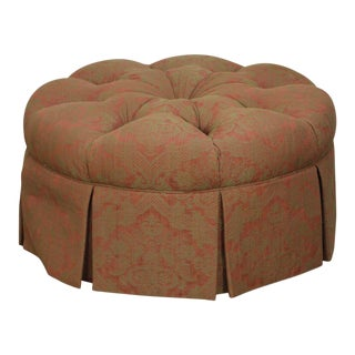Custom Upholstered Round Tufted Ottoman For Sale