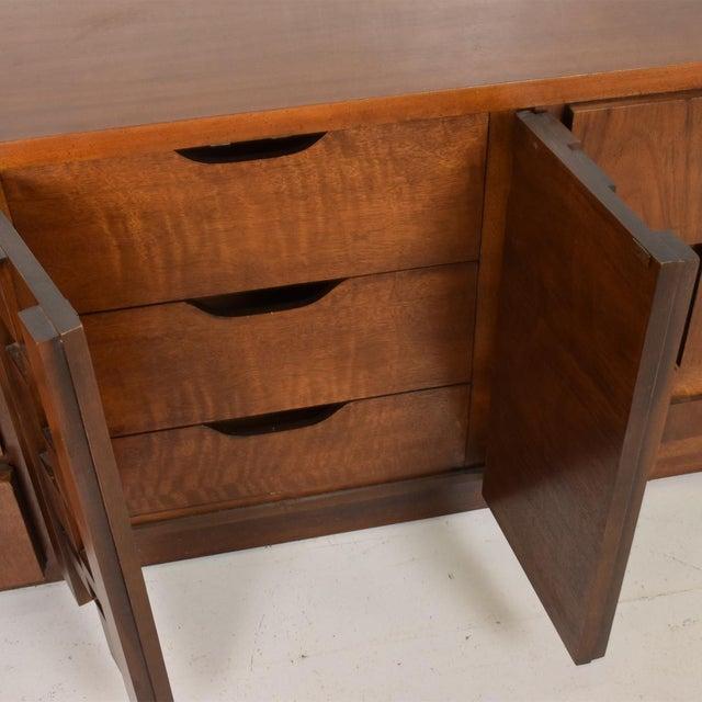 Wood Mid-Century Modern Brutalist Patchwork Walnut Tiles Dresser by Lane For Sale - Image 7 of 10