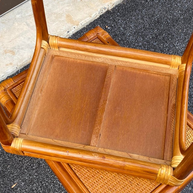 Leather Wrapped Rattan Nesting Tables - Set of 3 For Sale - Image 10 of 13