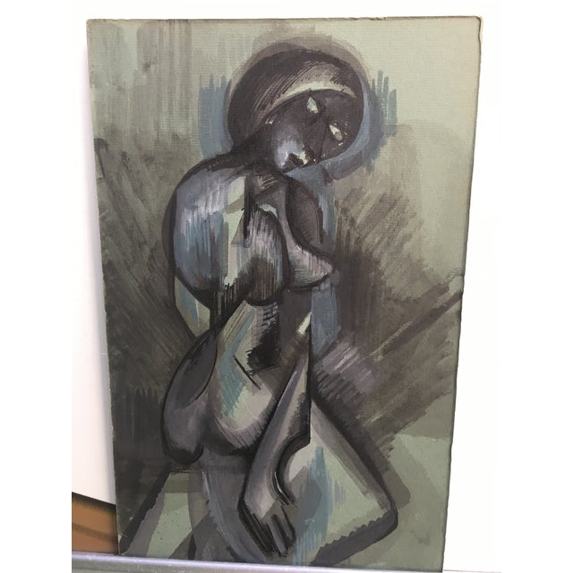 Abstract Figurative Blue and Gray Watercolor Painting - Image 4 of 4