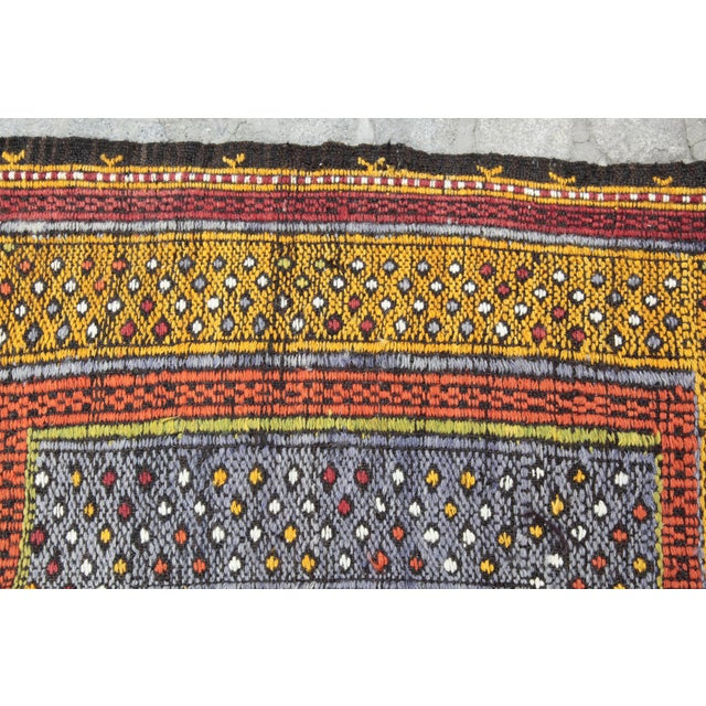 Tribal Vintage Vivid Color Cicim Kilim Rug - 3′4″ × 3′5″ For Sale - Image 11 of 13