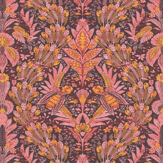 "Lewis & Wood Hawksmoor Fireworks Extra Wide 52"" Damask Wallpaper Sample For Sale"