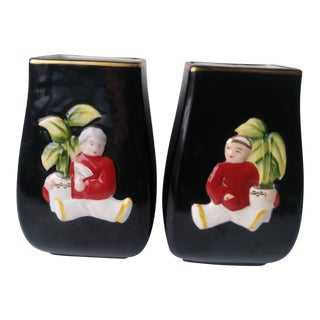 1950's Vintage Royal Sealy Japanese Hand Painted Vases- a Pair For Sale
