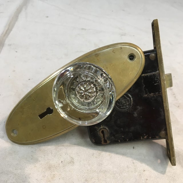 Metal Antique Yale & Towne Early 20th Century Mortise Lock Box With Mercury Center Glass Door Knobs For Sale - Image 7 of 13