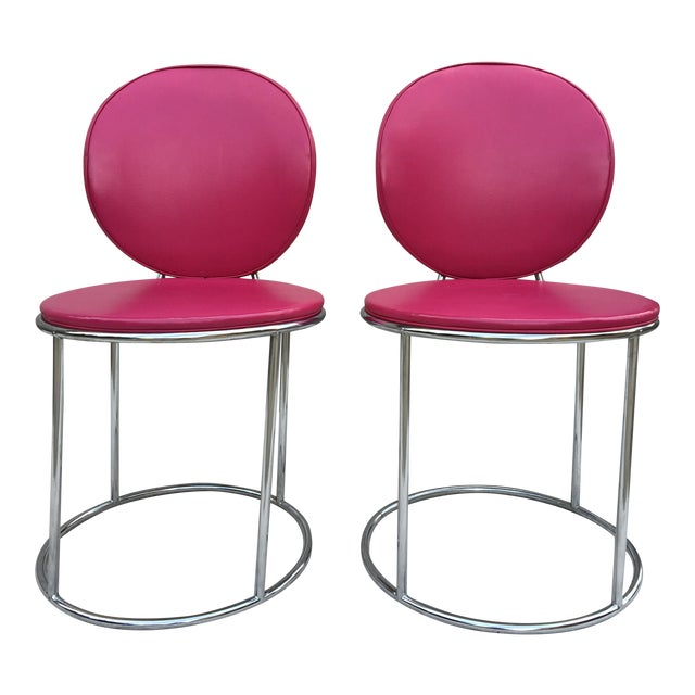 Mid Century Pink Vinyl Accent Chairs - a Pair - Image 1 of 6
