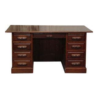 Antique 7 Drawer Wooden Office Desk For Sale