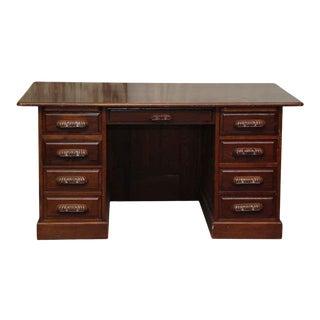 Antique 7 Drawer Wooden Office Desk For Sale