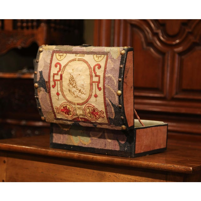 Decorative Bombe Box With 18th Century Needlepoint Tapestry by J. Lamy For Sale In Dallas - Image 6 of 11
