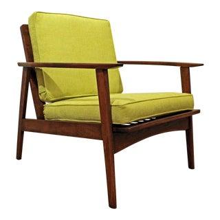 Mid-Century Danish Modern 'Citron' Walnut Lounge Arm Chair For Sale