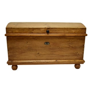 Pine Dome-Top Trunk or Blanket Chest For Sale