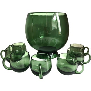 Mid-Century Hand Blown Green Glass Punch Bowl Set - 8 Piece Set For Sale