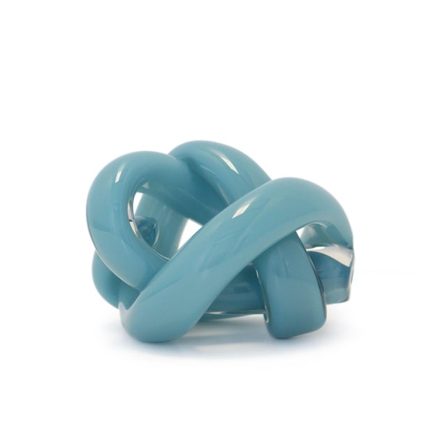 Contemporary SkLO Wrap Object Glass Knot - New Blue For Sale - Image 3 of 4