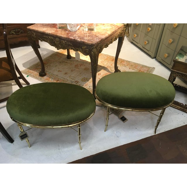 Pair of vintage(1970s) Italian brass benches for Mastercraft. These were actually tables, with a glass/ mirror insert....