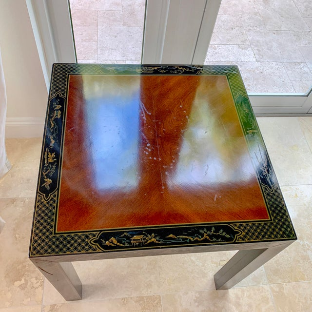 Vintage Drexel Heritage Et Cetera Chinoiserie Lacquer End Side Squared Table For Sale - Image 11 of 13