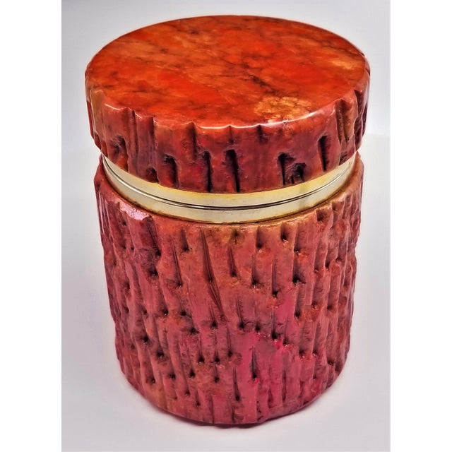 Vintage 1950s Red Alabaster Jewelry Box With a Fois Bois Tree-Like Carved Texture For Sale - Image 13 of 13