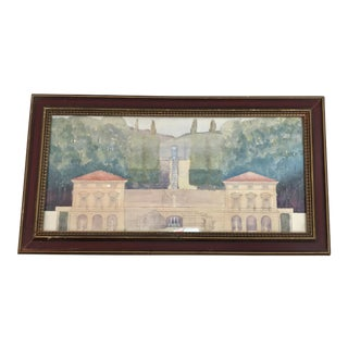 20th C Watercolor-Italian Country Estate For Sale