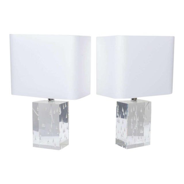 Pair of Rare Thick and Lucite Block with Raindrop Lamps For Sale
