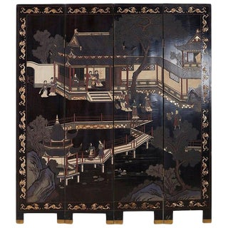 Chinese Export Four Panel Lacquer Coromandel Screen For Sale