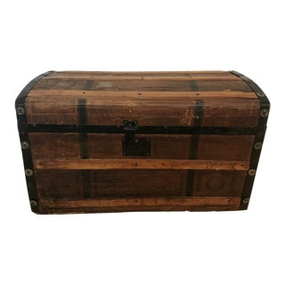 Small Wooden and Metal Trunk For Sale