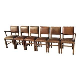 Vintage Oak & Vinyl Dining Chairs - Set of 6