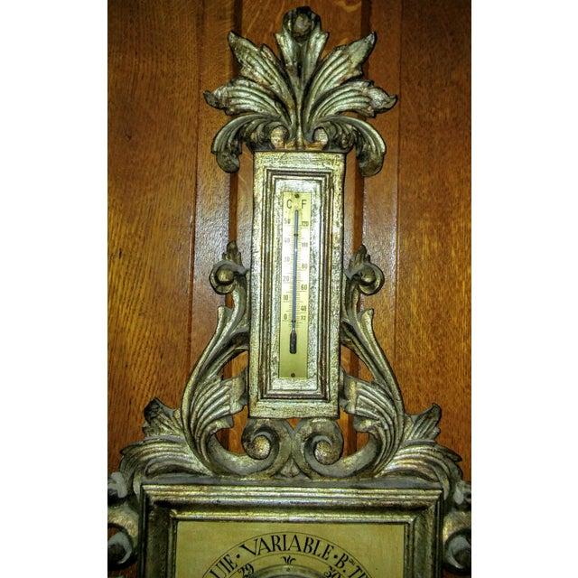 Vintage Italian Wood Tole Barometer Thermometer - Image 3 of 4