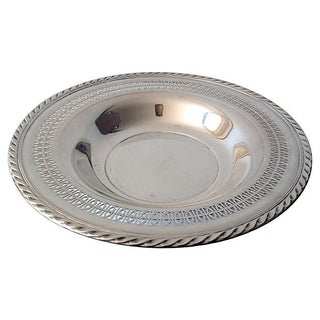 Reticulated Welled Silver Plate Platter For Sale