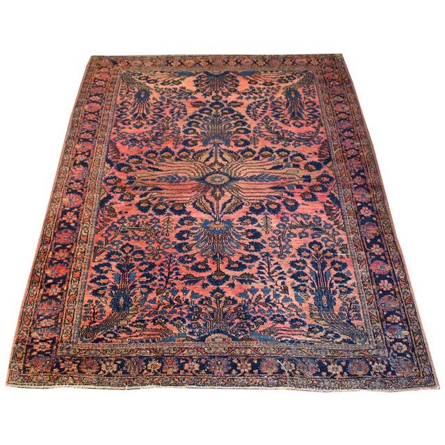 "Antique Persian Pink Sarouk Rug - 3'5"" x 4'10"" - Image 1 of 3"