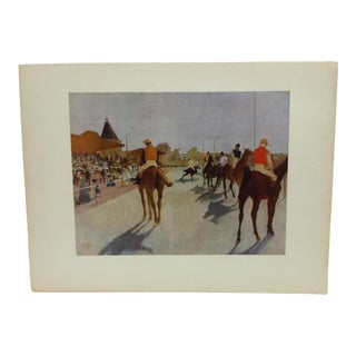 """Vintage Mid-Century """"At the Race Course"""" Mounted Print For Sale"""