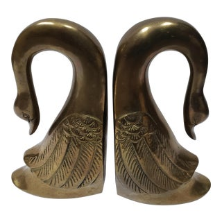 Vintage Asian Brass Swan Bookends - a Pair For Sale