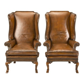 1890 Antique English Wingback Leather Chairs - a Pair