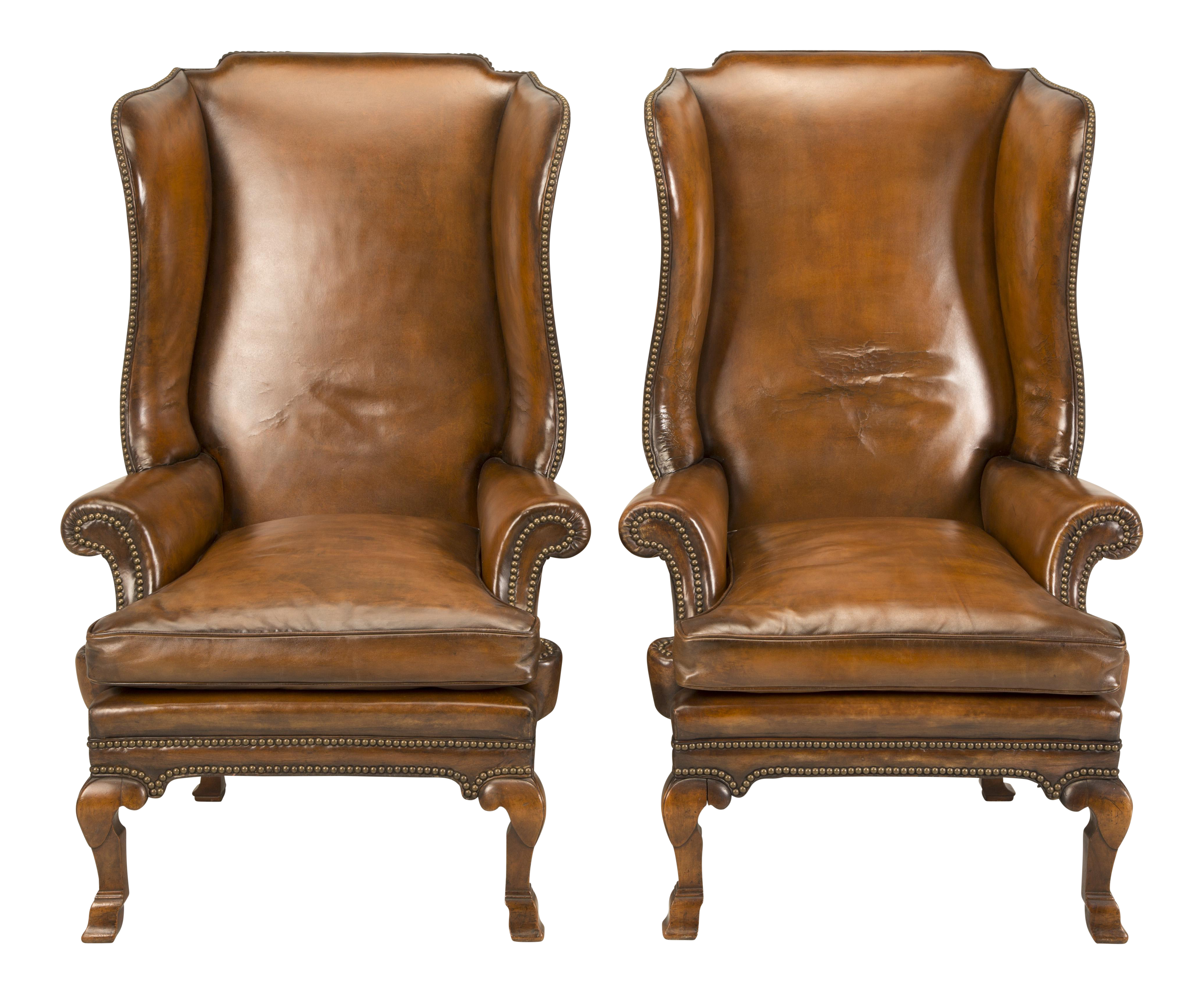 1890 Antique English Wingback Leather Chairs   A Pair