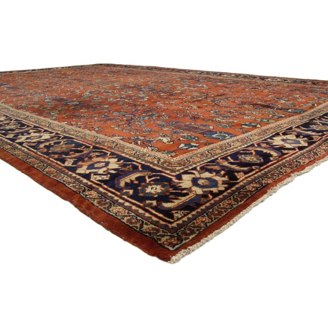 73360 Antique Persian Mahal Palace Size Rug With Jacobean Style, 11'01 x 17'07. This hand-knotted wool antique Persian...