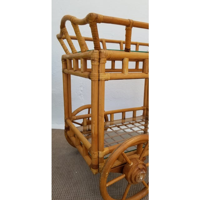 Vintage Boho Chic Rattan & Bamboo Rolling Bar Cart For Sale - Image 11 of 13