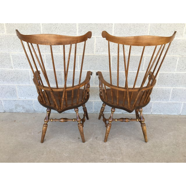 Nichols & Stone Paint Decorated Windsor Comb Back Arm Chairs - a Pair For Sale - Image 9 of 11