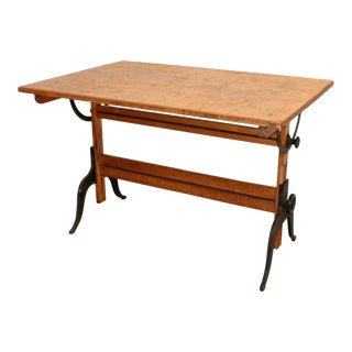 A. Lietz of San Francisco- Antique Drafting Table With Cast Iron Legs For Sale