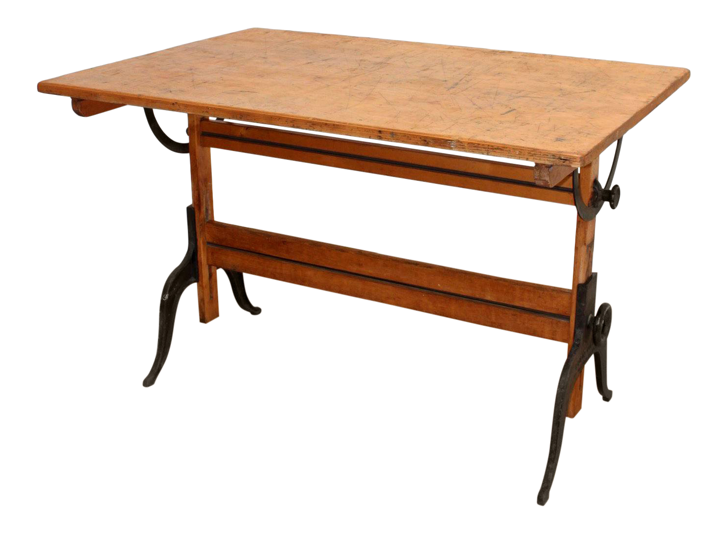 A. Lietz Of San Francisco  Antique Drafting Table With Cast Iron Legs For  Sale