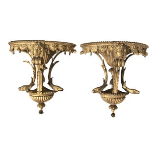 English Regency Gilt Wood Brackets - a Pair