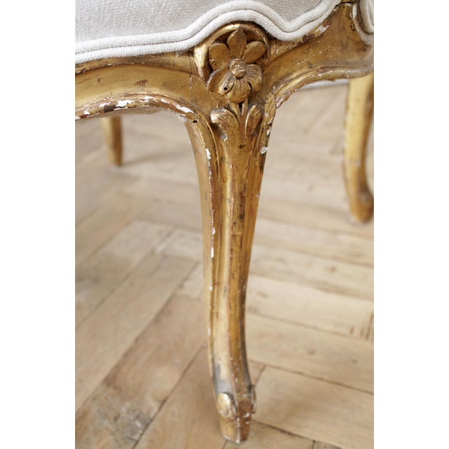19th Century Carved Giltwood French Louis XV Style Open Arm Chairs For Sale - Image 9 of 13