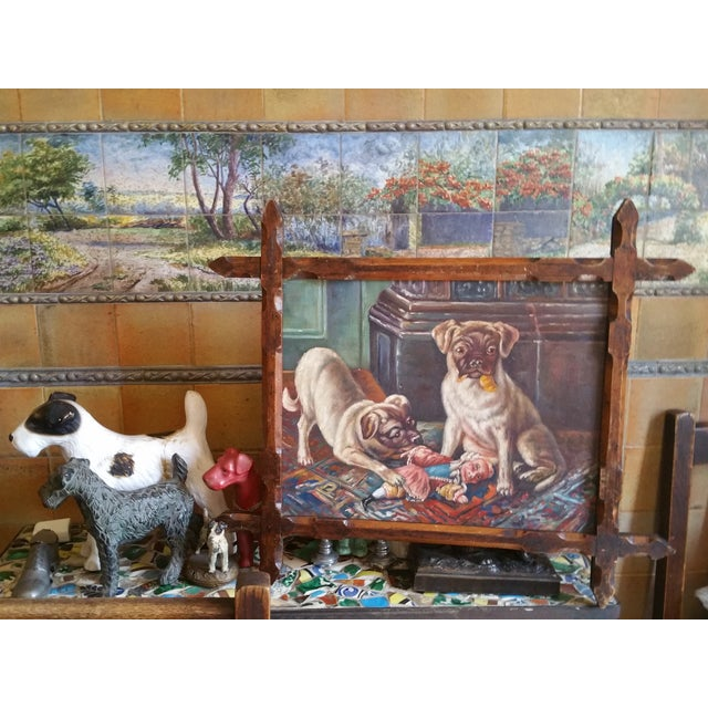 Vintage Pugs & Punch Oil Painting For Sale In Los Angeles - Image 6 of 6