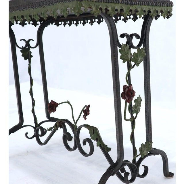 Black Marble Top Ornate Wrought Iron Side Console Table For Sale - Image 11 of 13