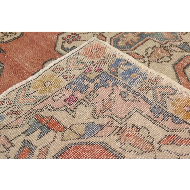 1940s Distressed Vintage Turkish Oushak Rug With Art Deco Style - 4'05 x 7'07 For Sale - Image 5 of 9