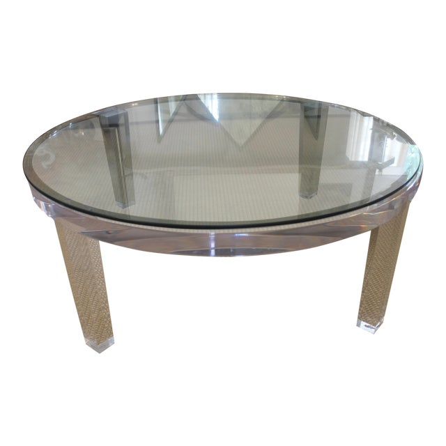 H- Studio Round Glass/Lucite Coffee Table For Sale