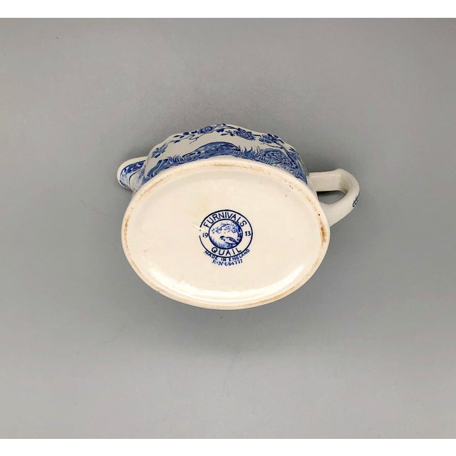 Blue and White Furnivals Quail 1913 Pottery Teapot, Creamer and Sugar Bowl Set For Sale - Image 11 of 13